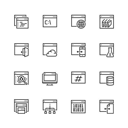debug: Programming, coding applications vector icon set in thin line style