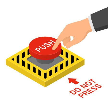 Hand pressing red emergency button. Isometric vector illustration Illustration