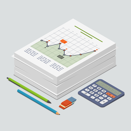 printed work: Heap of documents accompanied by pen, pencil and calculator. Isometric vector illustration