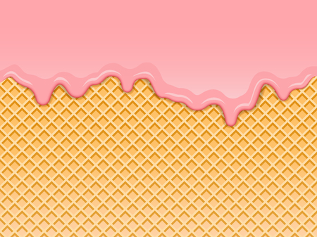 ピンク色のストロベリー アイス クリーム ワッフル背景に溶けて。ベクトル図  イラスト・ベクター素材