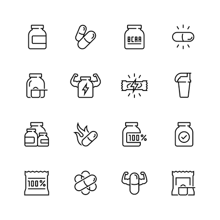 strenght: Sport supplements related vector icon set in thin line style Illustration