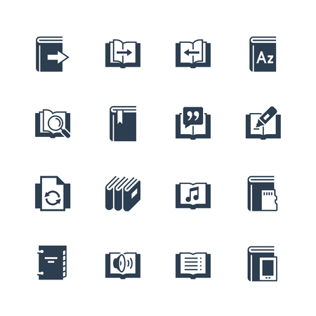 Ereader interface gerelateerde vector icon set Stock Illustratie