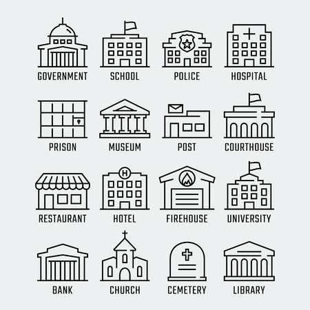 Government buildings vector icon set in thin line style Illustration