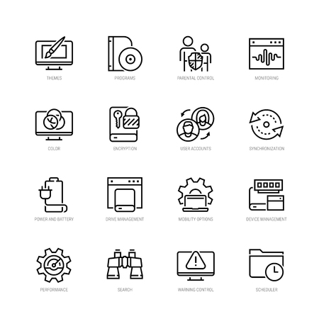 Operating system and its management vector icon set in thin line style