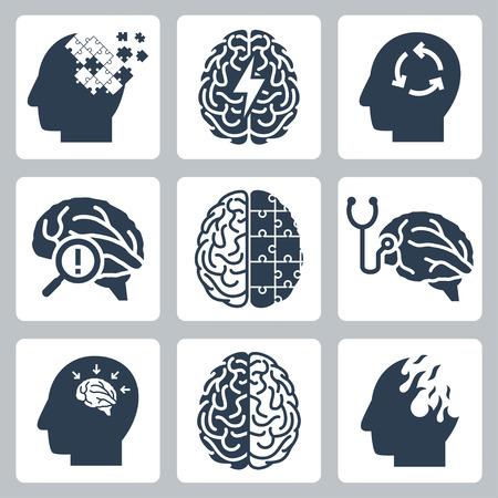 losing brain function: Brain degenerative deseases, memory loss related icon set