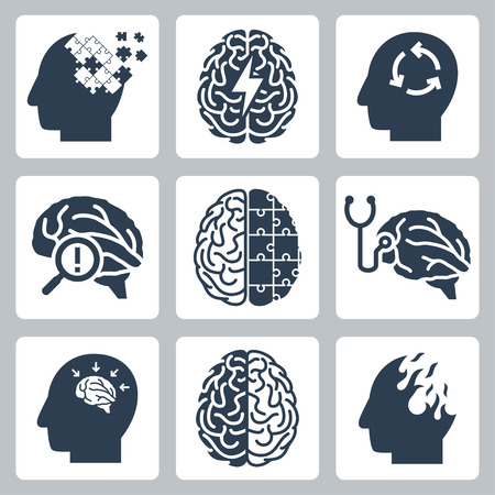 Brain degenerative deseases, memory loss related icon set