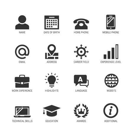 Resume or curriculum vitae related vector icon set 免版税图像 - 79110026