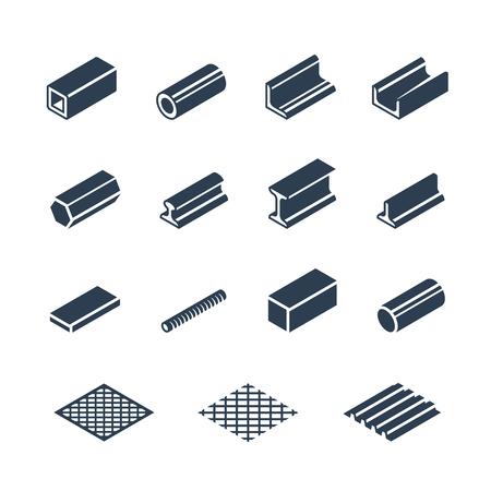 Prodotti metallurgici set di icone vettoriali Vettoriali