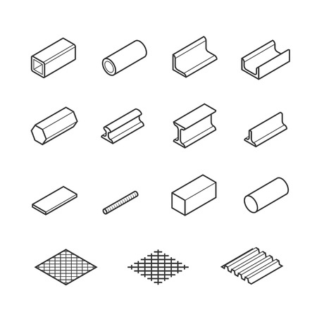 balk: Metallurgy products vector icon set in thin line style