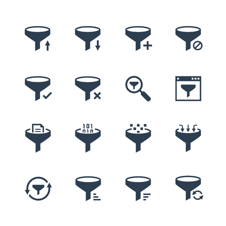 Data filtering vector icon set