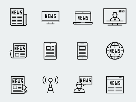 tv tower: News vetor icon set in thin line style