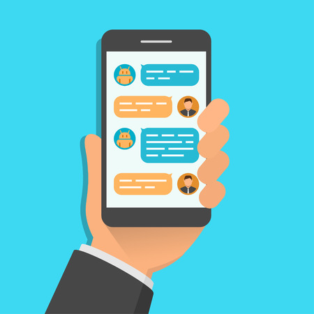 Hand holding smartphone with chatting bot application on the screen. Flat design vector illustration