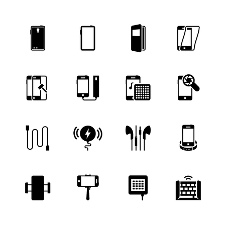 Smartphone accessories vector icon set Ilustração Vetorial