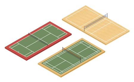 Isometrische Tennis-, Badminton- und Volleyballplätze Standard-Bild - 79110061