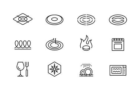 Utensil properties and destination vector icon set Vector Illustration