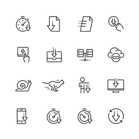 high speed internet: Download vector icon set in thin line style Illustration