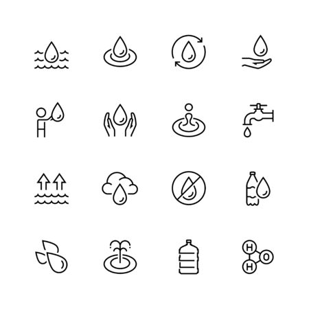 icon: Water related vector icon set in thin line style Illustration