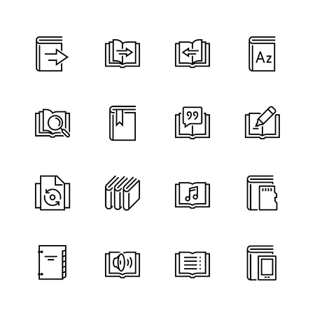 datebook: Ereader interface related vector icon set in thin line style Illustration