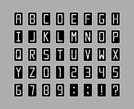 Vector font in black flip clock style Illustration