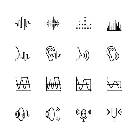 icon: Acoustics and sound vector icon set in thin line style
