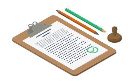 approvement: Clipboard with approved document accompanied by pen, pencil and stamp. Isometric vector illustration