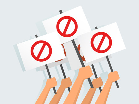 Ilustración vectorial de manos sosteniendo pancartas de protesta
