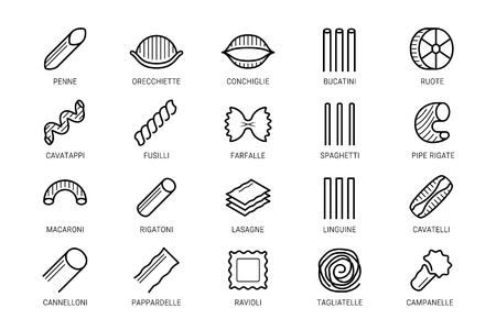 Pasta vector icon set in thin line style