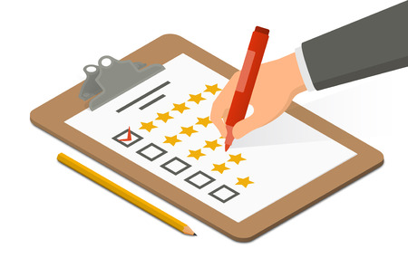 Hand holding highlighter over rating blank on clipboard accompanied by pencil. Isometric vector illustration Illustration