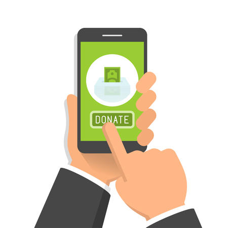 Hand holding smartphone with donate button on its screen, flat design style illustration
