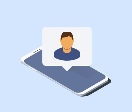 Smartphone and push notification with man avatar on it. Isometric vector illustration