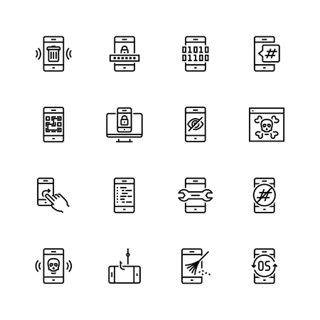 Mobile security vector icon set in thin line style  イラスト・ベクター素材