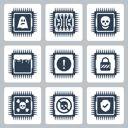 Vector icon set of CPU critical exploit vulnerabilities Illustration