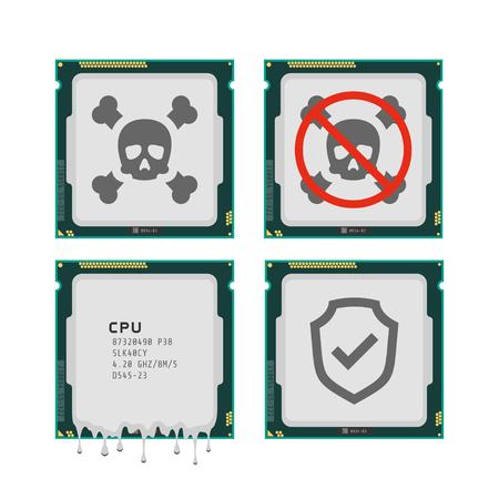 Vector illustration of CPU critical exploit vulnerabilities