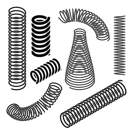 Kolekcja sprężyn w rzucie izometrycznym Ilustracje wektorowe