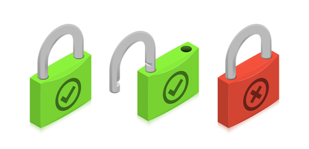 Closed and open locks with check and cross symbols. Isometric vector illustration