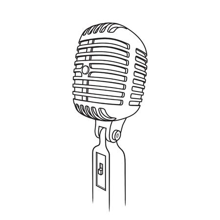 illustration of Vintage Microphone on isolated white background Illustration