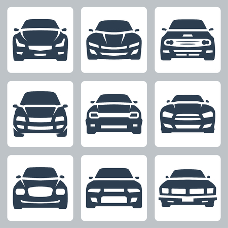Front view of different cars, vector icon set Illustration