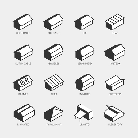 Roof types vector icon set
