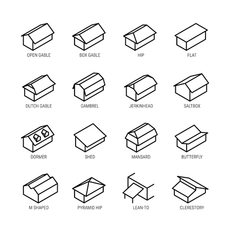 Roof types vector icon set in thin line style