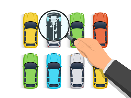 Car diagnostics vector illustration. Hand holding magnifying glass over row of cars