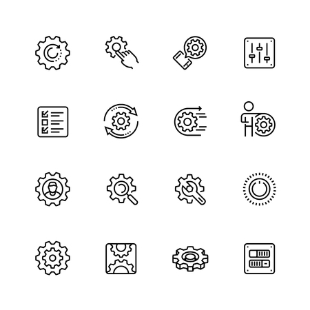Settings or options related vector icon set in thin line style with editable stroke