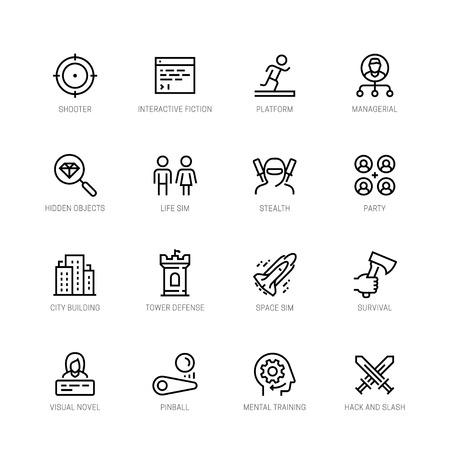 Iconos de vector de géneros de videojuegos en estilo de línea editable # 2 Ilustración de vector