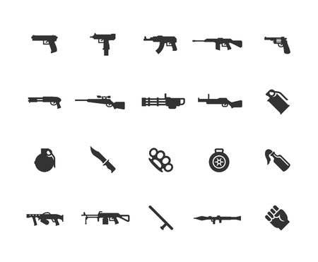 Modern weapons vector icon set