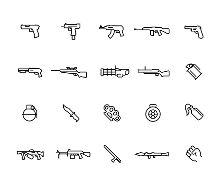 Modern weapons vector icon set in thin line style with editable stroke Illustration