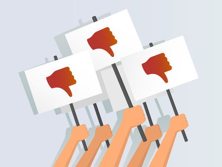 Vector illustration of hands holding thumbs-down banners Vettoriali
