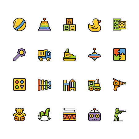 Toys icon set in filled outline style