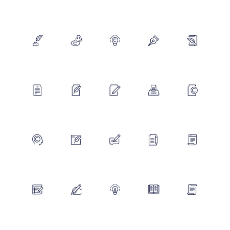 Copywriting vector icon set in outline style Stock Illustratie