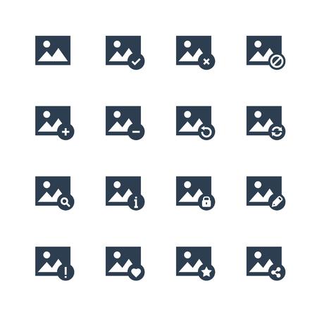 Afbeelding en fotogalerij applicatie gerelateerde vector icon set in glyph-stijl Stockfoto - 95914735