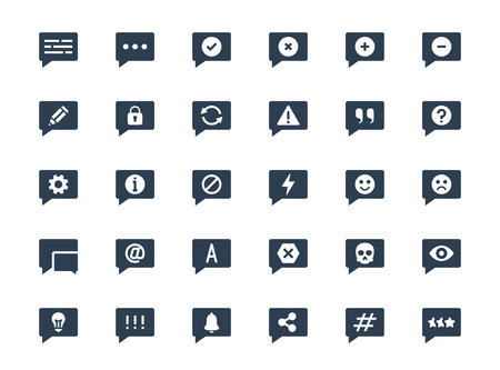 Message or notification icon set in glyph style Vettoriali