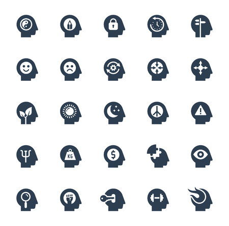 Human brain processes, people thinking, emotions, mental health, creative business and development ideas glyph style icon set
